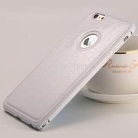 Luxury Genuine Leather Back Cover Metal Aluminium Case for iPhone 6 plus 5.5''
