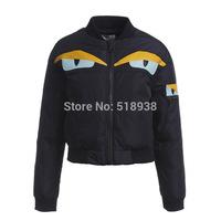 New 2014 autumn winter women brand fashion novelty big eyes PU patchwork parkas jacket coat short outerwear coats jackets