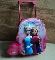 3D Frozen wheeled school bags children trolley bag frozen wheel bag 32*27*13cm frozen backpack free shipping