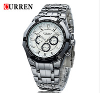 Luxury Men's Curren Watches Fashion Brand Alloy Business Quality Watch False Three Eyes Stainless Steel Silver Quartz Wristwatch