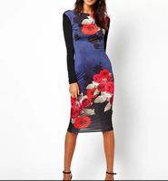 European Simple Fashion Lady Sexy Dress V Neck Back Long Sleeve Women All Match Dress YS93232