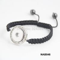 12pcs/lot Newest handmade braided shamballa beads snap charm bracelet with rhinestone NAB046