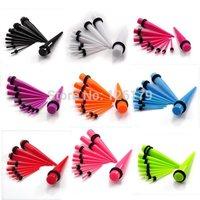 18Pcs/Set Acrylic Ear Plug Taper Kit Gauges Expander Stretcher Stretching Piercing Wholesale