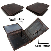 Vintage Style Men Wallet /Coin Purse.Vintage Designer fold Crazy Horse Cowhide Leather  brand wallet