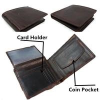 Vintage Style Men Wallet /Coin Purse.Vintage Designer fold Crazy Horse Cowhide Leather  brand wallet