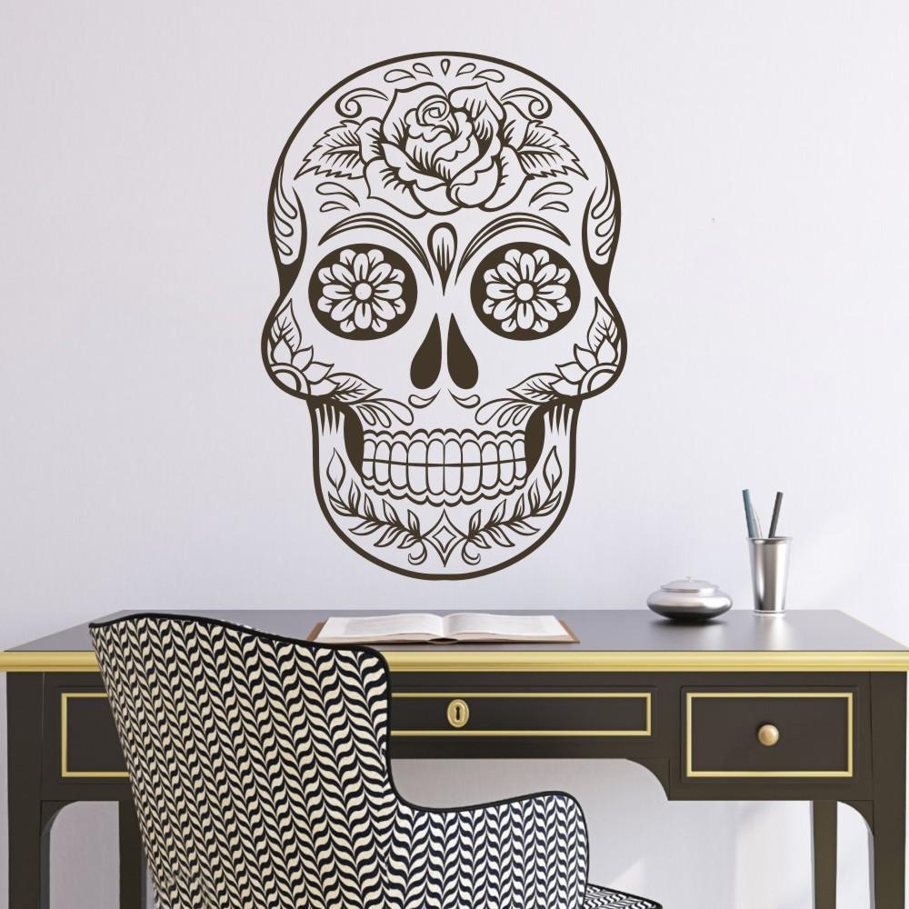Sugar Skull Mexico Floral Swirl Office Wall Art Vinyl Wall