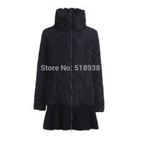 2014 autumn winter women fashion brand black white warm parkas long-sleeve ruffles skirt style patchwork outerwear coats