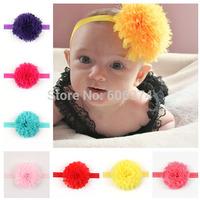 New Chiffon Ball Hairband Vintage Baby Girl Shabby Flower Hair Bows  Headband Infant Kids Floral Hair Accessory Photo Props