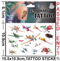 Famous Cartoon Toy plane general mobilization Design Children Temporary Tattoo Sticker kids DIY sticker body  finger decoration