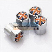 4caps/lot automobile wheel tire tyre valve cover caps with UK United Kingdom national Flag