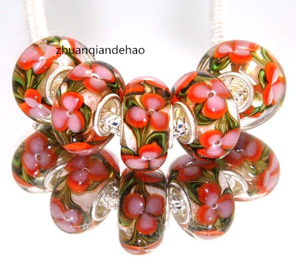 DYI 5P Oil vines flower Painting Series 925 Sterling Silver GLASS BEAD fit Pandora European Bracelet