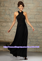 Cheap Dress Fashion 2015 Popular Halter A-Line Corss Back Custom Made Chiffon Black Ruched Long Bridesmaid Dress