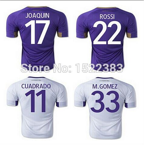 soccer Jersey 2015 Fiorentina Football shirt 14 15 Fiorentina Purple white AQUILANI CUADRADO M .GOMEZ CUADRADO JOAQUIN(China (Mainland))