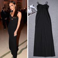 Victoria Beckham Spring Summer 2015 Women Long Dress Sexy Off The Shoulder Sling Strapless Ankle Length Black Dresses