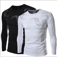 Men T Shirt 2014 Brand Fashion Autumn Spring Long Sleeve Dragon Printed Design Casual Camisetas Masculinas Fitness Tops Z1213