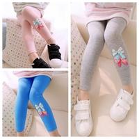 100-140 Autumn Winter 3 colors kids Bowknot Girl Leggings Children thicken pants trousers Jeggings