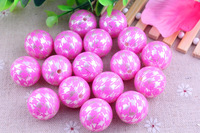 Ivory  Pearl Print rose houndstooth Chunky New Round 20MM 100pcs A lot Acrylic Pearl Beads for Chunky  Necklace Kids Jewelry