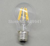 6W E27 A19 220V 110V LED Filament bulbs Light Clear Glass Housing LED Lamp high brightness 360 Degree 10pcs a lot