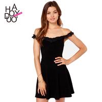 2015 Women's Sexy dress  Embroidery lace collar Slim Bohemia black stretch Knitting dress  XS-XXL