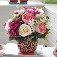 Fashion artificial flower set peony home decoration accessories vase stem flower decoration flower silk flower