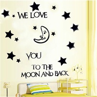 1 Pc We love you to the moon and back  Wall Paper Sticker Nursery Decal Home Decor#AF0120