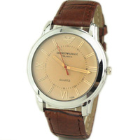 Business Men Watches New Upscale Tea Color Glass Dial Dress Watch For Men PU Strap Simple Fashion Elegant watches