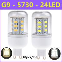 2014 Ultrabright SMD 5730 Energy Saving LED Lamp G9 5W 24LED AC220V-240V Warm White/White Corn Bulb Christmas Lights 10pcs/lot