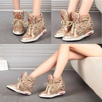 2015 spring new arrived hot sale snakeskin pattern flat-bottom strap high top  wedges  rivets sneakers