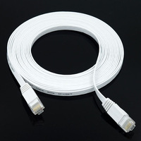 KF-LINK Cat6 RJ-45 20m Ultra-Thin Flat Ethernet Network Cable Internet Cable Twisted-pair Lan RJ45 8P8C 32AWG 1000Mbps White