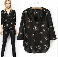 2014 Women Printed Three Quarter Sleeve Black Chiffon Blouses V Neck Blouse Shirt WomanTransparent Sexy Tops Blusas Femininas