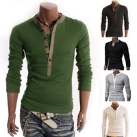 GY117 Men Fashion Solid Color Long-sleeve V-neck T-shirts Camisetas Masculinas Casual Pullover Tops Male Bottoming Shirts