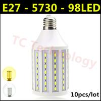 Hot Ultrabright SMD 5730 E27 LED Lamp 30W AC 220V-240V 98led Warm White/White Corn Bulb Light For Christmas decoration 10pcs/lot