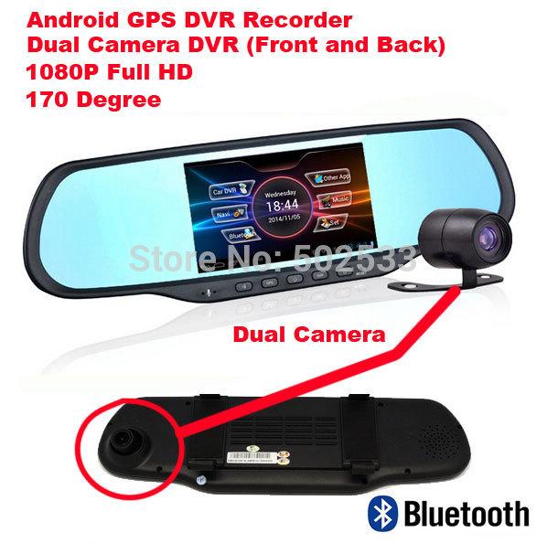 Android 4.0 spiegel auto dvr Recorder + rückansicht dvrs recorder dual kamera video 170 grad touchscreen
