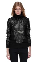 New Fashion Mandarin Collars Bomber Leather Jackets Women Shorts Coat Leather Jaqueta Couro Casual Coats Pattern B22