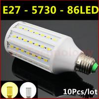Hot Ultrabright SMD 5730 LED Lamp E27 25W 86led AC 220V-240V Warm White/White Corn Bulb Light For Christmas decoration 10pcs/lot