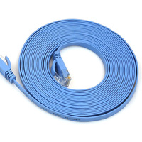 KF-LINK New Cat6 RJ-45 2m Ultra-Thin Flat Ethernet Network Cable Internet Cable Twisted-pair Lan RJ45 8P8C 32AWG 1000Mbps Blue