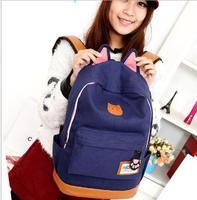 2014 men women Cartoon Cat Ear bag fashion schoolbags student canvas backpack school bags mochila feminina Free Shipping WXT327
