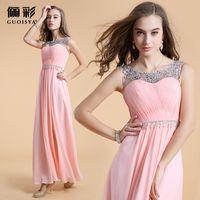 Girl's Dress 2014 Fashion Chiffon Prom Dress Beaded Elegant Long Formal Prom Dresses Hot Sale