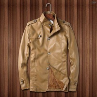 Genuine Leather with wool liner winter men leather suede, fashion brand coat with button, warm jackets