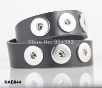 3pcs/lot Newest high quality double-deck 6 snap button real leather bracelet NAB044