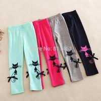new 2015 girls cute cat print leggings / fashion children cartoon pencil pants / high quality kids tights