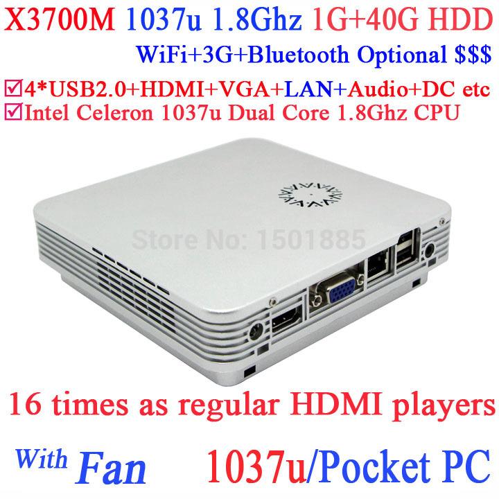 Cheap linux mini pc pocket pc windows 8 X3700M with Intel Celeron 1037U Dual Core 1.8GHz 1G RAM 40G HDD(China (Mainland))
