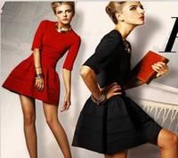 Free Shipping + 2014 Spring/Summer/Autumn New fashion OL women's vintage Red Victoria Beckham dress