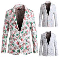2015 new Slim  Printing  Korean men's suit jacket  free shipping