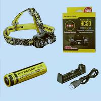 Free shipping-Original NITECORE HC50 565 lumens headlamp + rechargeable NL188 3100mah battery + XTAR MC1 USB single charger