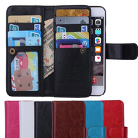 2 in 1 Crazy Horse PU Leather Case Cover For iphone 6 Plus 5.5 inch Removeable Back Cover Phone Bag Wallet with Card Holder