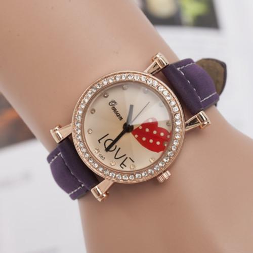 2015 new fashion alloy casual leagther ladies Water Quartz Hand Clock women Wrist Watch Wristwatch Free Shipping MAO128(China (Mainland))