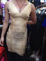 2015 Christmas New year sexy strap gold Foiled V neck women celebrity party bandage Dress HL