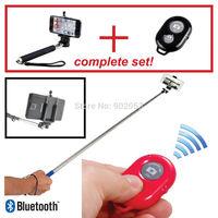 No Battery!!! Selfie Handheld Monopod Stick + Phone Holder + Bluetooth Wireless Remote Shutter smart phone digital Camera