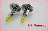 Original 2 PCS (1 Pair) 12V 100W H1 Halogen Bulb Yellow Quartz Glass Car HeadLight Auto Light XENON Fog Lamp^LWX